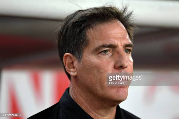 Paraguay head coach Eduardo Berizzo looks on prior to the international friendly match between Japan and Paraguay at Kashima Soccer Stadium on...