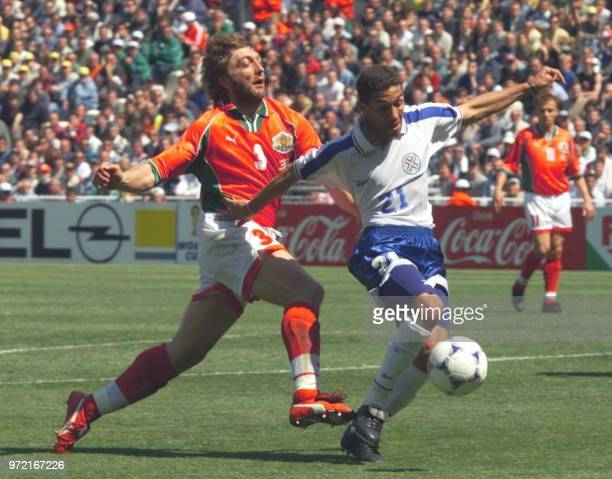 Paraguay Jorge Campos dribbles past Bulgarian defender Trifon Ivanov 12 June at the Stade de la Mosson in Montpellier during their 1998 Soccer World...