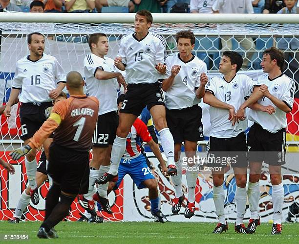 Paraguay 'keeper Jose Luis Chilavert takes a freekick 15 June 2002 at the Jeju World Cup Stadium in Jeju during second round playoff action between...