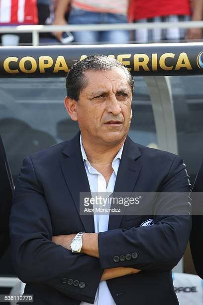Paraguay manager Ramon Diaz is seen during the 2016 Copa America Centenario Group A match between Costa Rica and Paraguay at Camping World Stadium on...