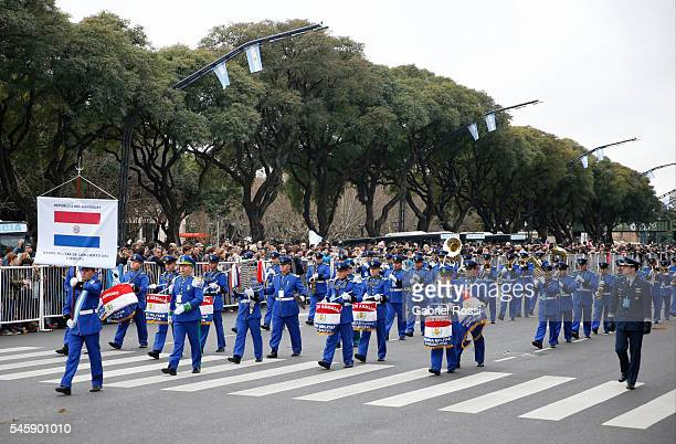 Paraguay Military Band parades during Argentina Bicentennial Celebrations at Libertador Avenue on July 10, 2016 in Buenos Aires, Argentina.