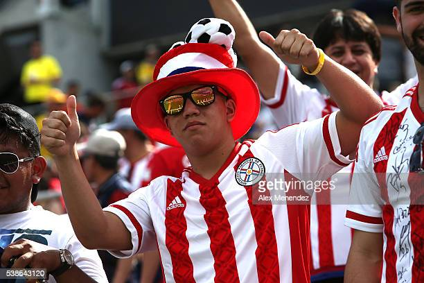Paraguay supporter is seen during the 2016 Copa America Centenario Group A match between Costa Rica and Paraguay at Camping World Stadium on June 4...
