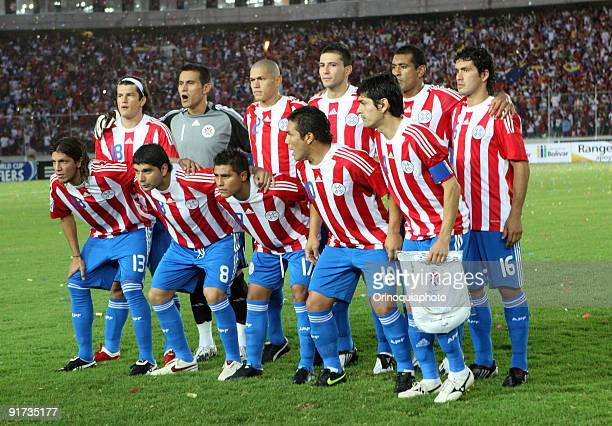 Paraguay team pose for a photograph before their match against Venezuela as part of FIFA 2010 World Cup Qualifier at the Cachamay Stadium on October...