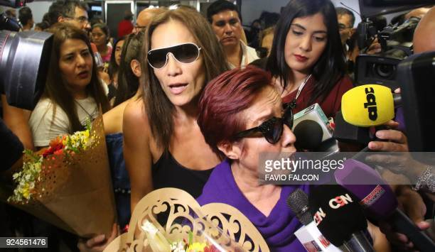 Paraguayan actresses of The Heiresses Margarita Irun and Ana Ivanova speak to the press upon their arrival at the airport in Luque Paraguay on...