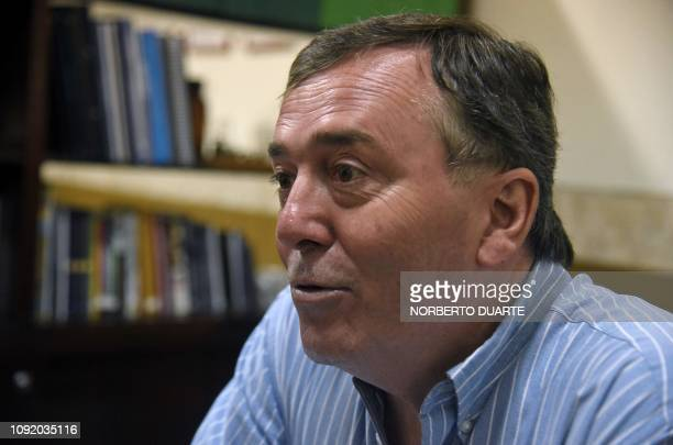 Paraguayan analyst Alfredo Boccia author of several books on the 19541989 dictatorship of General Alfredo Stroessner speaks during an interview with...