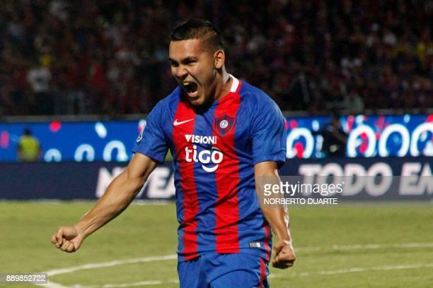 Paraguayan Cerro Porteno's Jorge Luis Rojas celebrates after winning their 2017 Paraguayan Clausura Championship final match against Sol de America...