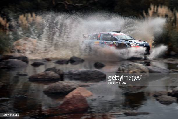 TOPSHOT Paraguayan driver Diego Dominguez steers his Hyundai i20 R5 with his codriver Edgardo Galindo in the Argentine province of Cordoba during the...