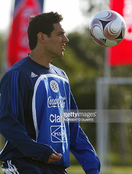 Paraguayan footballer Roque Santa Cruz controls the ball during a training session on June 9 2008 in Ypane Paraguay will face Brazil next June 15 in...
