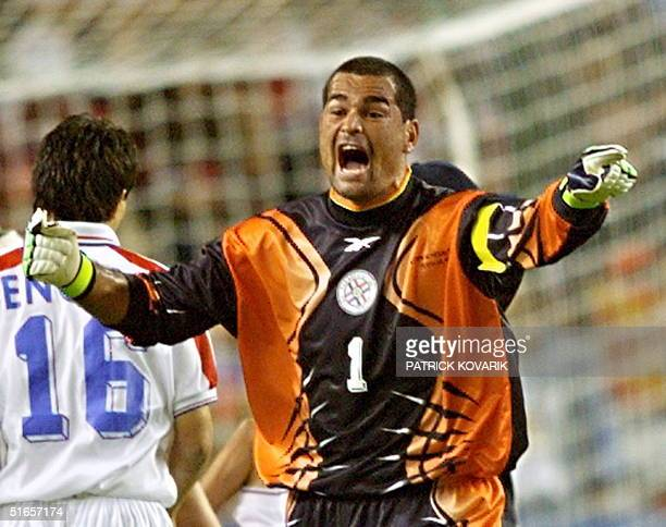 Paraguayan goalkeeper Jose Luis Chilavert jubilates 19 June after the 1998 Soccer World Cup Group D match between Spain and Paraguay The match ended...