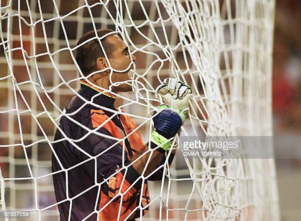Paraguayan goalkeeper Jose Luis Chilavert jubilates after Miguel Benitez scored the second goal 24 June at the Stadium in Toulouse south of France...