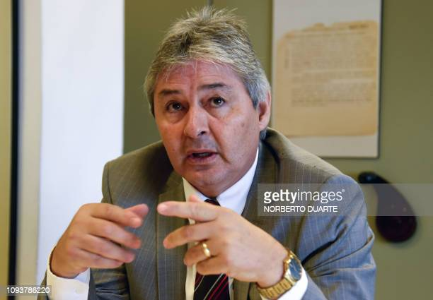 Paraguayan Judge Agustin Fernandez director of the Documentation and Archive Center for Human Rights Defense speaks during an interview with AFP at...