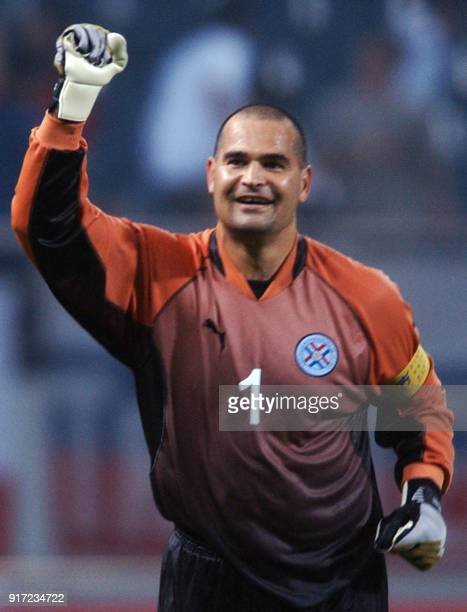 Paraguayan 'keeper Jose Luis Chilavert celebrates 12 June 2002 at the Jeju World Cup Stadium in Seogwipo following first round Group B action between...