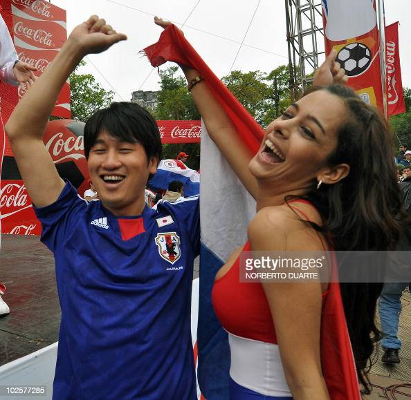 Fans cheer Paraguayan model Larissa Riquelme before the
