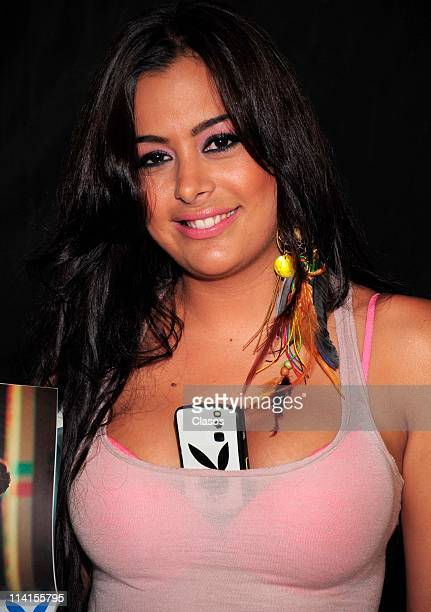 Paraguayan model Larissa Riquelme launches her Mexican Playboy issue during a press conference and autograph session at Gran Sur on May 12 2011 in...