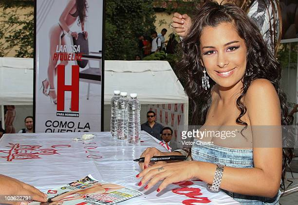 Paraguayan model Larissa Riquelme signs copies of her cover of 'H para hombres' magazine at Plaza Cuicuilco on August 24 2010 in Mexico City Mexico