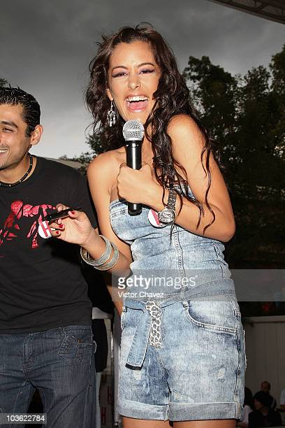 Paraguayan model Larissa Riquelme speaks during the promotion of her cover of H para hombres magazine at Plaza Cuicuilco on August 24 2010 in Mexico...