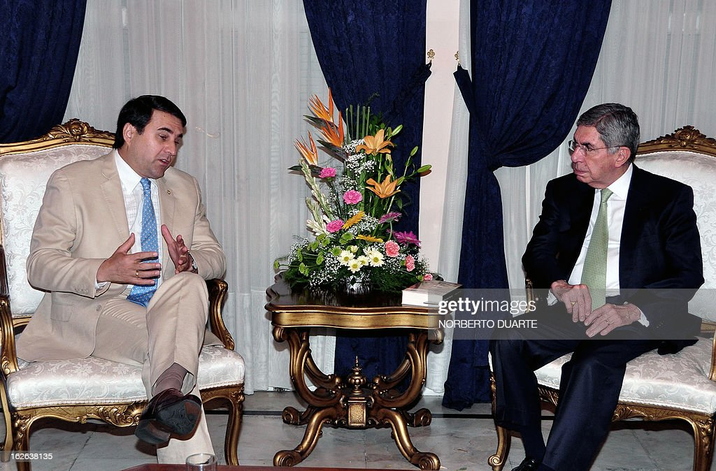 Paraguayan President Federerico Franco (L) talks with former Costa Rican President and head of the OAS observers' mission to the upcoming April 21 general election in Paraguay, in Asuncion, on February 25, 2013. AFP PHOTO/Norberto Duarte