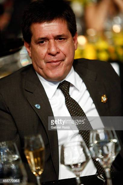 Paraguayan president Horacio Cartes looks on during the Official Draw of Bridgestone Libertadores Cup 2014 at CONMEBOL Building on December 12 2013...