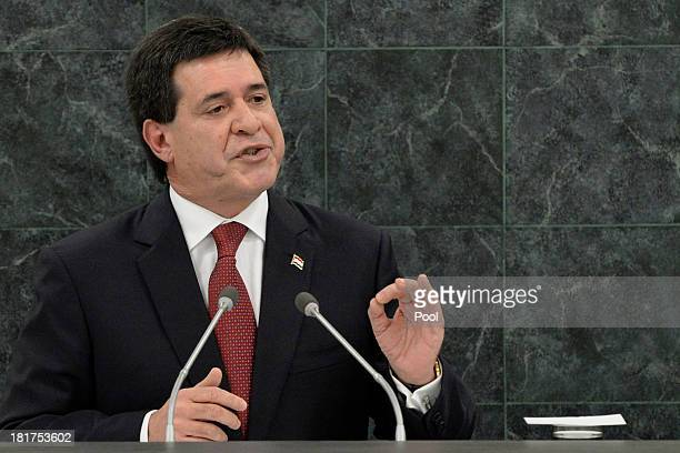Paraguayan President Horacio Manuel Cartes Jara addresses the UN General Assembly on September 24 2013 in New York City Over 120 prime ministers...