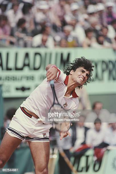 Paraguayan tennis player Victor Pecci pictured in action competing to reach the semifinals of the Men's Singles tournament at the 1981 French Open at...