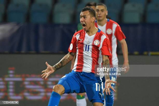 Paraguay's Alejandro Romero Gamarra celebrates after scoring against Bolivia during their Conmebol Copa America 2021 football tournament group phase...