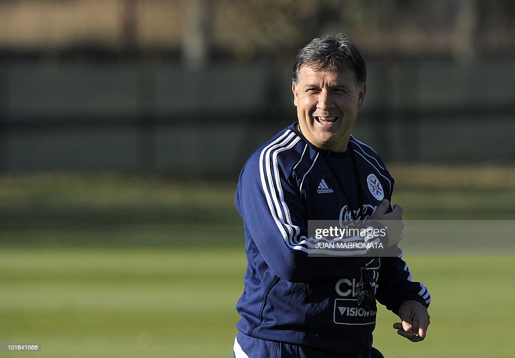 Paraguay's coach, Argentine Gerardo Martino, gestures during a training session at Michaelhouse school in Balgowan on June 5, 2010. Pararguay will face Italy in their opening match of the 2010 World Cup South Africa in Cape Town on June 14.