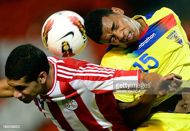 Paraguay's defender Matias Perez vies for the ball with Ecuador's midfielder Michael Arboleda during their South American U20 final round football...