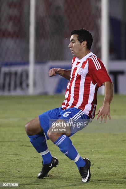Paraguay's Eduardo Ladesma during the match against Argentina as part of 2010 FIFA World Cup qualifier at the Defensores del Chaco Stadium on...