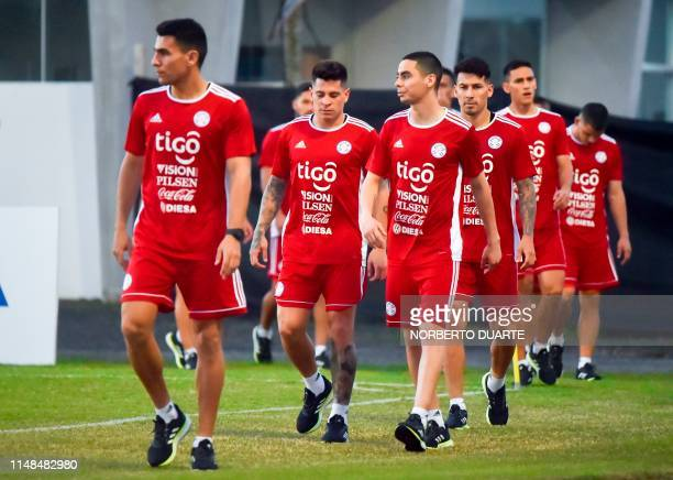 Paraguay's football players among them Junior Alonso and Miguel Almiron take part in a training session of the national team at Albiroga Complex in...
