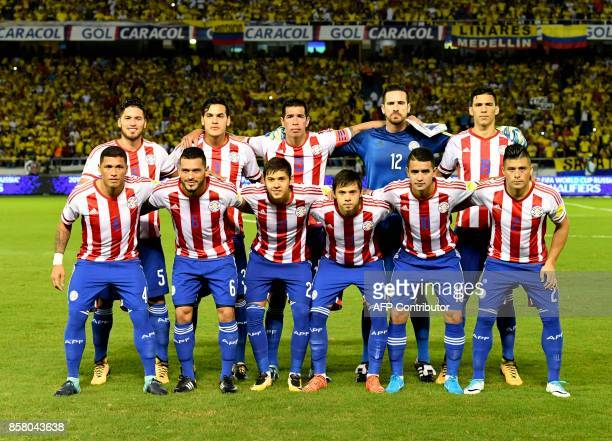 Paraguay's football team poses before the start of their 2018 World Cup qualifier football match against Colombia in Barranquilla Colombia on October...