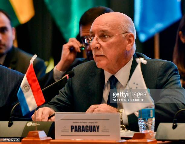 Paraguay's Foreign Minister Eladio Loizaga speaks during a Foreign Affairs meeting within the framework of the Mercosur Summit at the Conmebol...