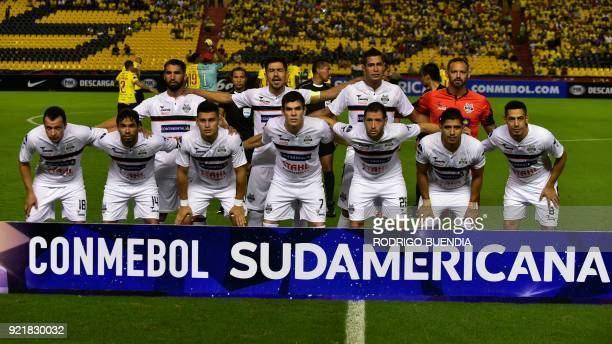 Paraguay´s General Diaz players pose before their 2018 Copa Sudamericana football match at the Monumental stadium in GuayaquilEcuador on February 20...