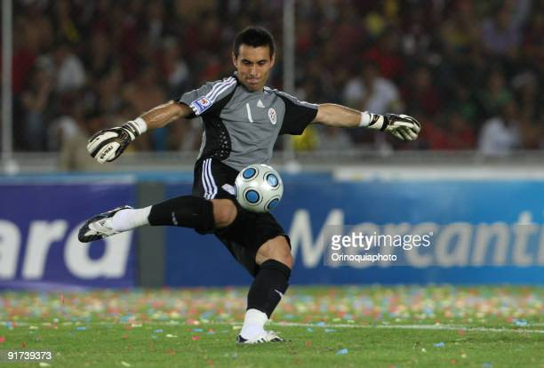 Paraguay's goalkeeper Justo Villar kicks the ball during the match against Venezuela as part of FIFA 2010 World Cup Qualifier at the Cachamay Stadium...