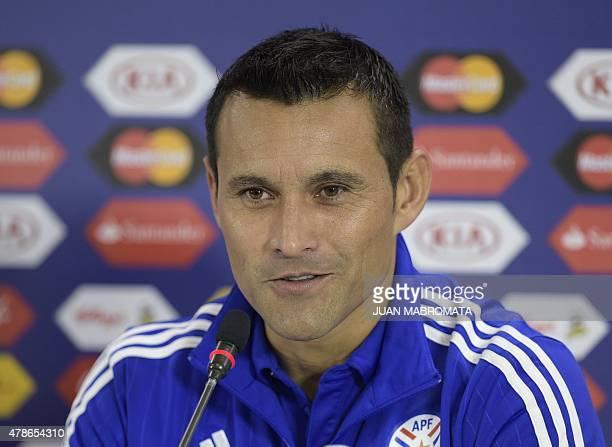 Paraguay's goalkeeper Justo Villar speaks during a press conference at Alcaldesa Ester Roa Rebolledo stadium in Concepcion, Chile, on June 26, 2015...
