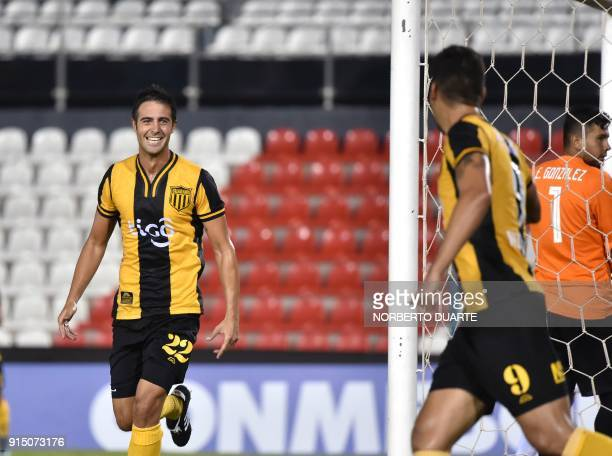 Paraguay's Guarani player Andres Imperiale celebrates his goal against Venezuela's Carabobo during their Copa Libertadores football match at...