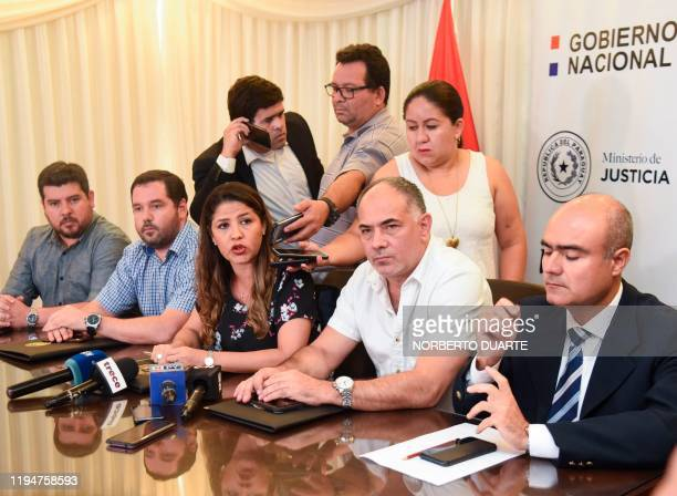 Paraguay's Justice Minister Cecilia Perez speaks during a press conference in Asuncion, on January 19, 2020. - Around 92 Paraguayan and Brazilian...