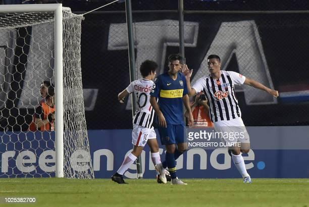 Paraguay's Libertad player Oscar Cardozo celebrates after scoring a goal against Argentina's Boca Junniors during their Copa Libertadores 2018 at the...