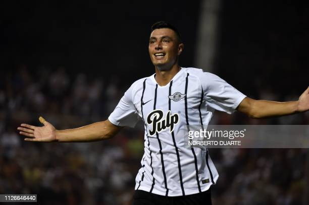 Paraguay's Libertad player Oscar Cardozo celebrates after scoring against Colombia's Atletico Nacional during their Copa Libertadores football match...