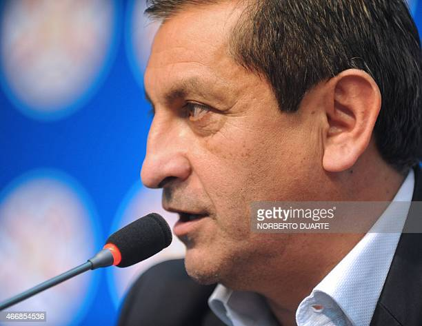 Paraguay's national football team coach Argentinean Ramon Diaz speaks during a press conference in Asuncion on March 19 2015 Diaz gave the official...