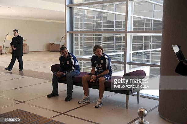 Paraguay's national football team player Edgar Barreto awaits before giving a press conference in Mendoza Argentina on July 21 2011 Paraguay defeated...
