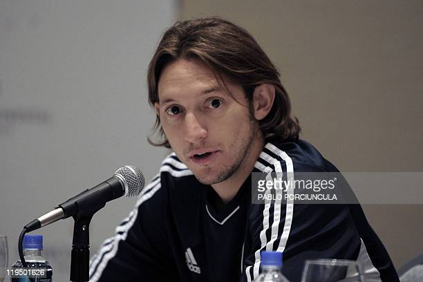 Paraguay's national football team player Edgar Barreto gives a press conference in Mendoza Argentina on July 21 2011 Paraguay defeated Venezuela and...