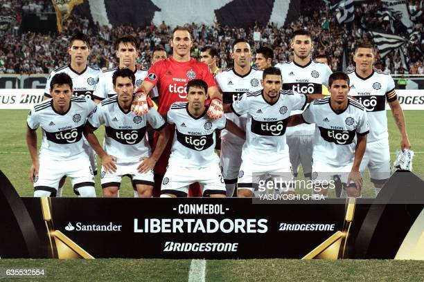 Paraguay's Olimpia players pose before their Copa Libertadores 2017 football match with Brazil's Botafogo at the Nilton Santos Olympic Engenhao...