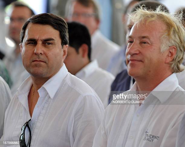 Paraguay's President Federico Franco and the Executive Chairman of US President Energy Peter Levine attend the launching ceremony for the oil...