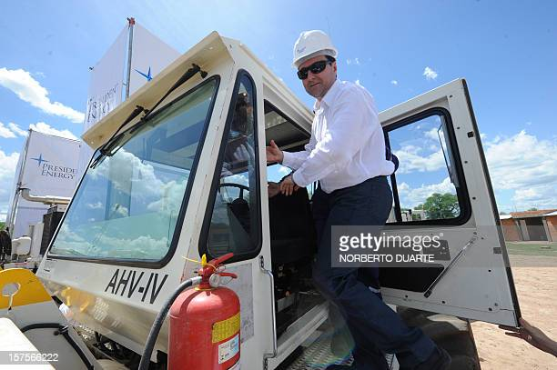 Paraguay's President Federico Franco checks one of the seismic vibrator trucks during a launching ceremony for the oil exploration and exploitation...
