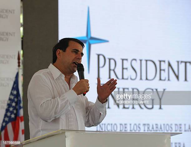 Paraguay's President Federico Franco delivers a speech during a launching ceremony for the oil exploitation programme in Chaco carried out by US...