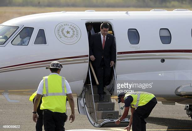 Paraguay's President Horacio Cartes arrives in Panama City on April 9 2015 to take part in the VII Americas Summit Regional leaders begin to arrive...