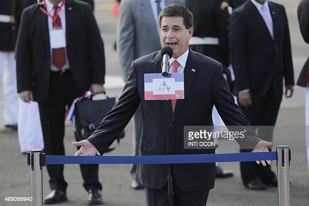 Paraguay's President Horacio Cartes delivers a speech upon landing in Panama City on April 9 2015 to take part in the VII Americas Summit Regional...