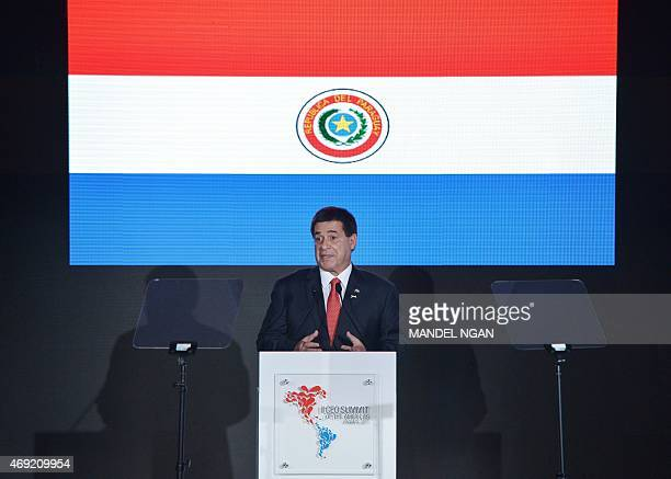 Paraguay's President Horacio Cartes speaks at the CEO Summit of the Americas at a hotel in Panama City on April 10 2015 Regional leaders are...