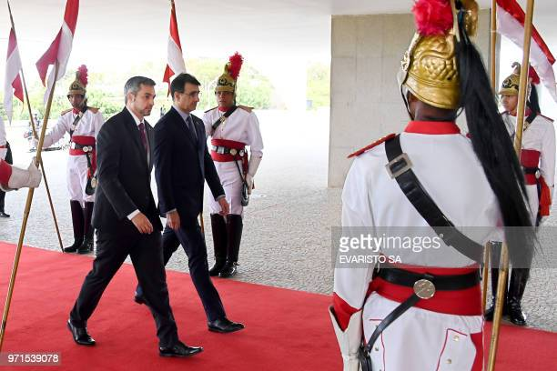 Paraguay's Presidentelect Mario Abdo Benitez arrives at Planalto Palace in Brasilia for a meeting with Brazil's President Michel Temer on June 11 2018