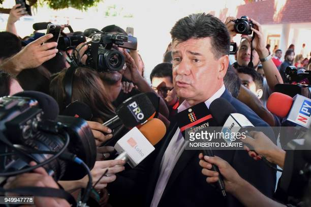 Paraguay's presidential candidate for the National Alliance party Efrain Alegre speaks with the press after casting his vote during presidential...